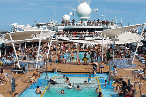 Busy cruise ship pool embarkation day