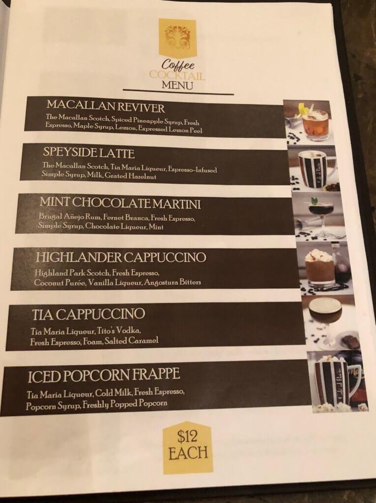 Cafe Al Bacio coffee cocktails menu