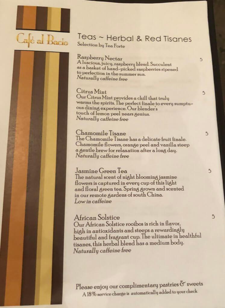Cafe Al Bacio Celebrity Cruises menu