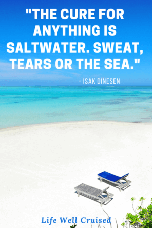 The cure for anything is saltwater. Sweat, tears or the sea