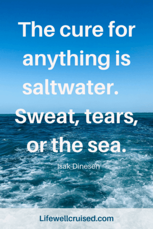 The cure for anything is sweat, tears or the sea