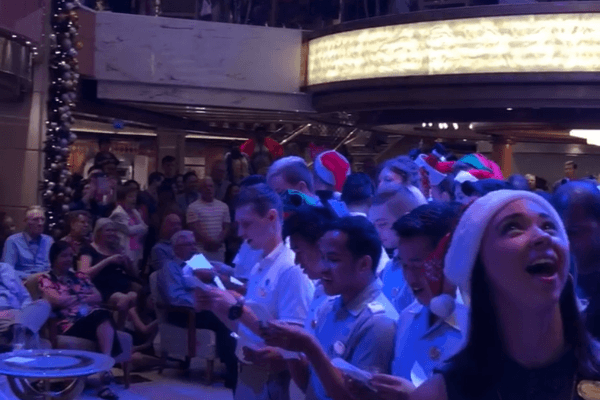 Singing Christmas songs on cruise
