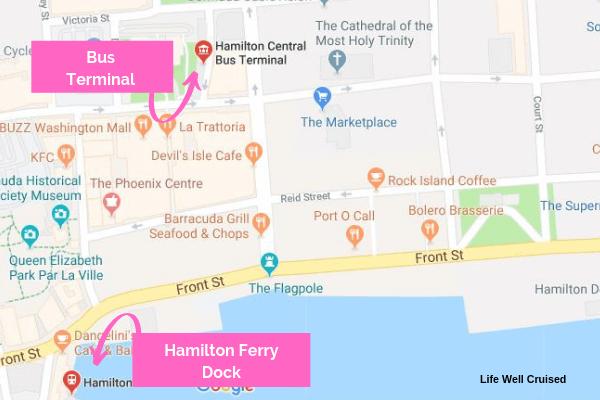 map haHamilton ferry to bus terminal