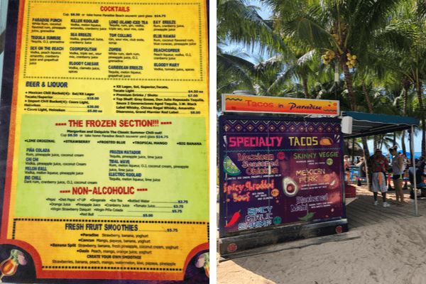 paradise beach frozen drink menu and tacos