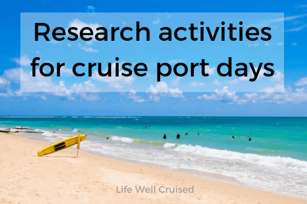 Research activities for port days - beach