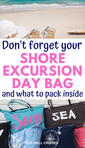 Don't Forget Your Shore Excursion Day Bag and what to pack inside PIN