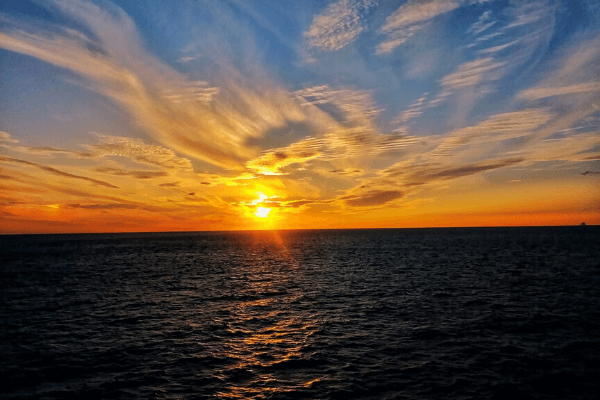 Sunrise from a cruise balcony