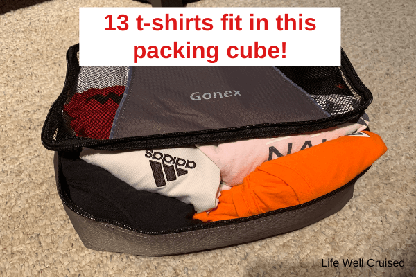 13 t-shirts fit in this packing cube