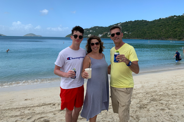 Life Well Cruised family at Magen's Bay Beach St. Thomas