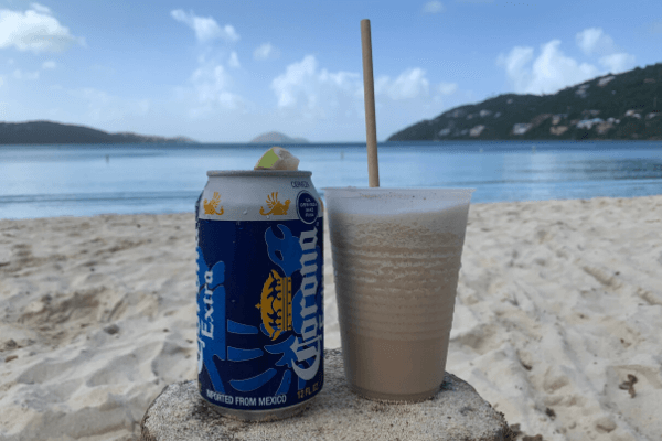 Magen's Bay drinks on the beach