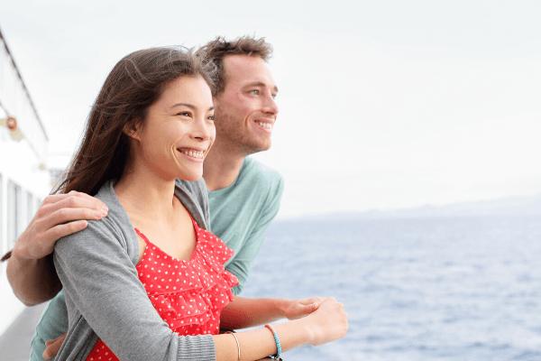 Happy couple on cruise ship 6 x 4