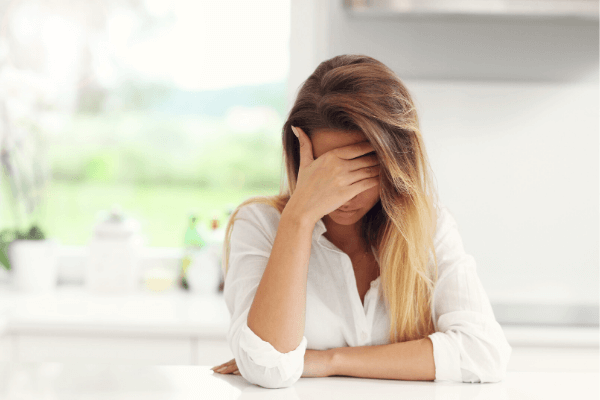 Woman sad and overwhelmed
