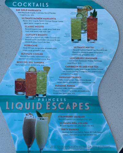 Princess Bar Menu Cocktails and Frozen Drinks