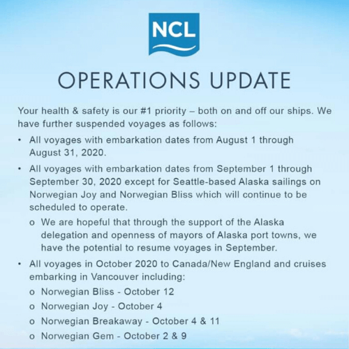 Cruise cancellations NCL Operations Update