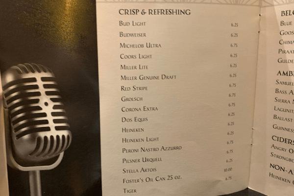 Princess Cruises Bar Menu Beer