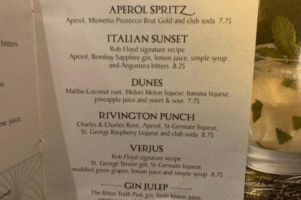 Princess Cruises Bar Menu cocktails 2