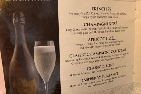 Princess Cruises Bar Menu cocktails