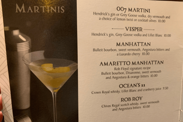 Princess Cruises drink package Bar Menu martinis crooners