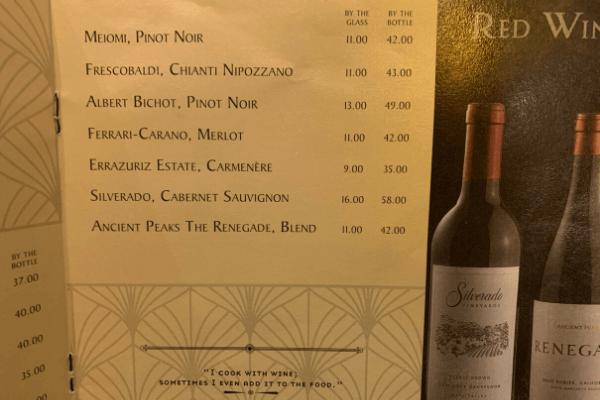 Princess Cruises Bar Menu red wine