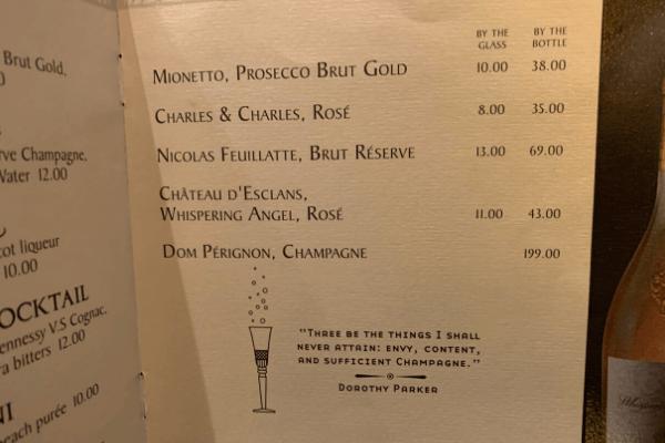 Princess Cruises Bar Menu sparkling wine and champagne