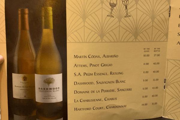Princess Cruises Bar Menu white wine
