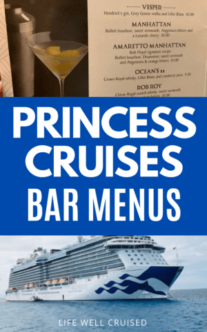 Princess Cruises Bar Menus