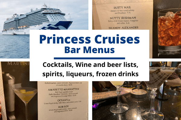 Princess Cruises Bar Menus and Drink Lists: Cocktails, beer and wine