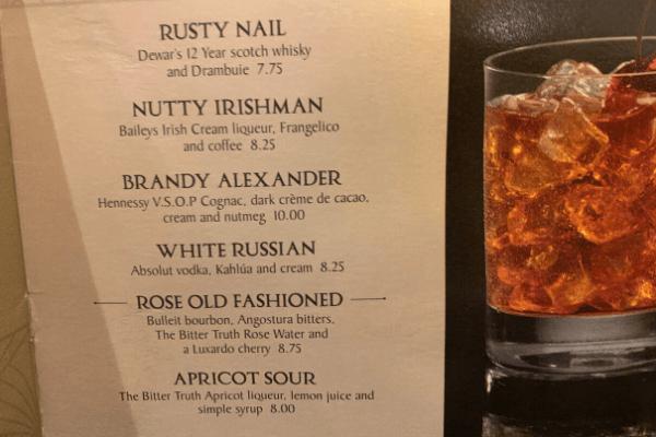 Princess Cruises Crooners Bar Menu drinks