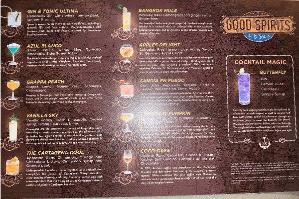 Princess Cruises Drink Package Good Spirits Bar Menu