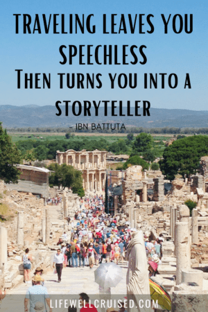 cruise travel quote - traveling leaves you speechless then turns you into a storyteller