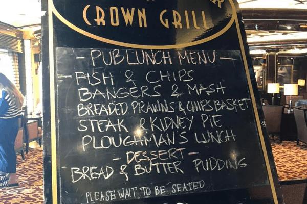 british pub lunch menu princess cruise