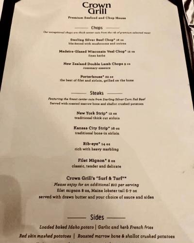 princess cruise crown grille menu