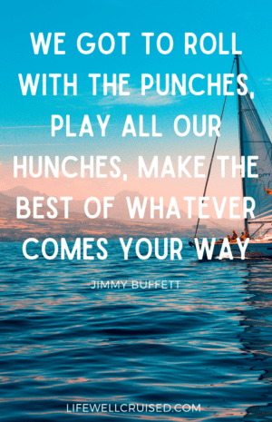 We got to roll with the punches, play all our hunches, make the best of whatever comes your way Jimmy Buffett Quote