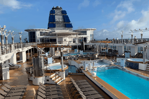 cruise ship deck on cruise port day