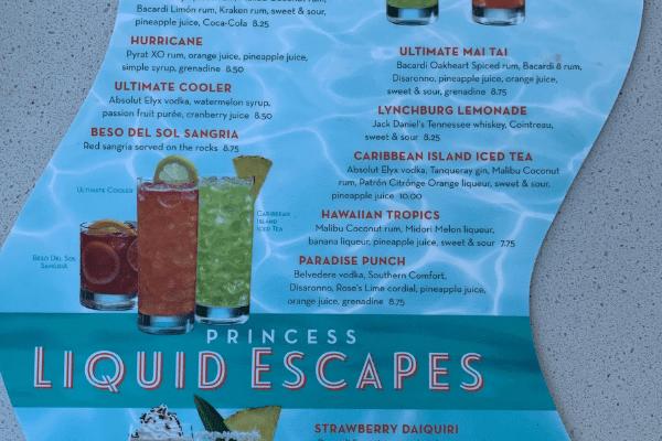Princess cocktail menu beverage package