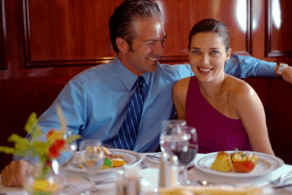 Cruise Dining Room Couple Bring Wine Onboard a Cruise