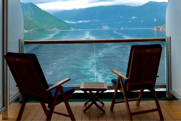 Cruise ship aft balcony view