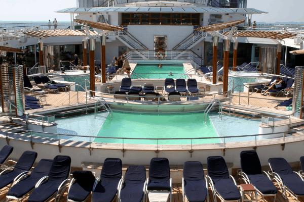 Cruise ship pool deck - saving seats