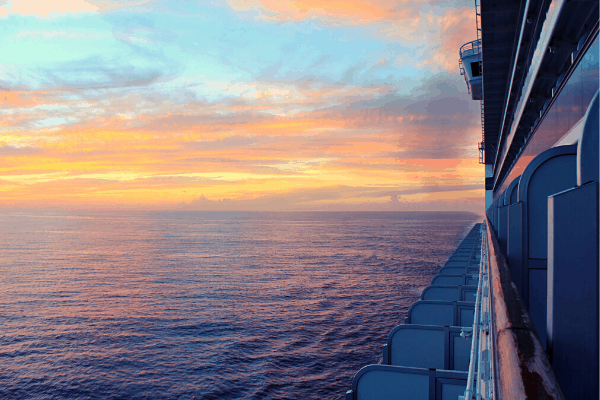 Cruise ship sunset starboard or port side